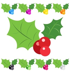 Set of holly berry sprig icons isolated on white vector image vector image