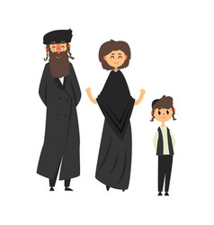 traditional jewish family with son vector image vector image
