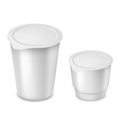 yogurt round plastic cups with foil lid vector image