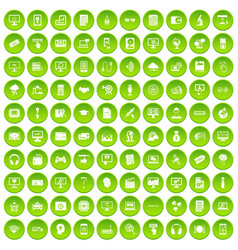 100 web and mobile icons set green circle vector
