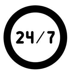 247 service icon black color in circle or round vector