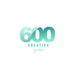 600 green pastel gradient number numeral digit vector