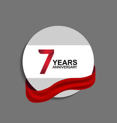 7 years anniversary design in circle red ribbon vector