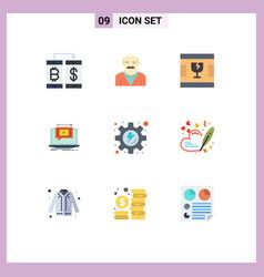 9 universal flat color signs symbols video vector