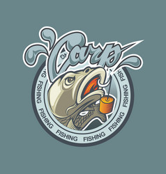 a logo with a fish carp in a circle and a bait vector image