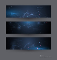 Abstract molecules banners set vector