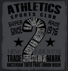 Athletic sport tee graphic vector