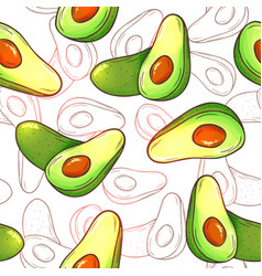 Avocado seamless pattern whole avocados sliced vector