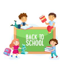 Back to school concept happy students children vector
