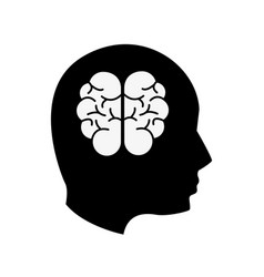 Black contour mental health person with brain vector
