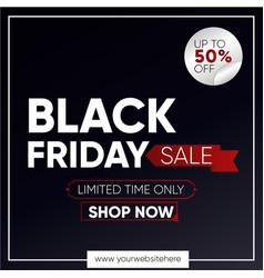 Black friday banner for social media post dark vector