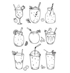 blended drinks set natural vegan fruit cocktail vector image