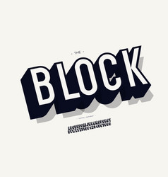 block font 3d bold style vector image