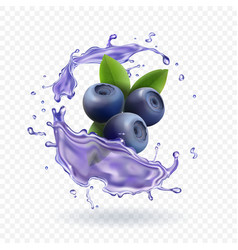 Blueberry juice realistic vector