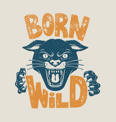 born wild head panther on grunge background vector image