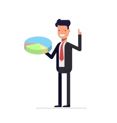 Businessman or manager with pie chart in hand Man vector image