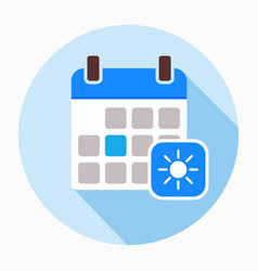 Calendar with sun icon filled flat sign vector