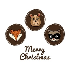 Cartoon animals icon set Merry Christmas vector