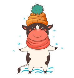 character bull in a hat isolate on a white vector image