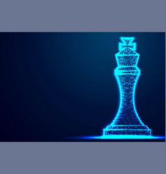 chess king wireframe polygon blue frame structure vector image