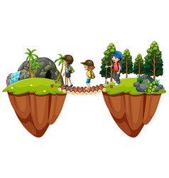 children hiking out in the woods vector image