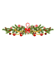 christmas pine and ribbon vector image