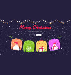 christmas sweaters traditional knitted jumpers vector image
