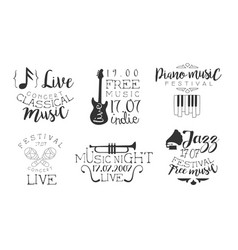classical music concert hand drawn badges set vector image