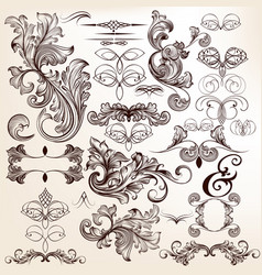 collection of decorative flourishes in vintage vector image