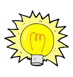 comic cartoon electric light bulb vector image