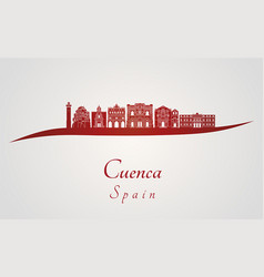 cuenca skyline in red vector image
