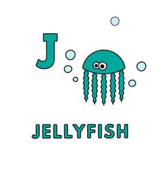 Cute cartoon animals alphabet jellyfish vector