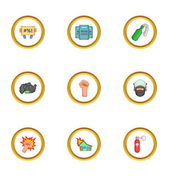 Demonstration icons set cartoon style vector