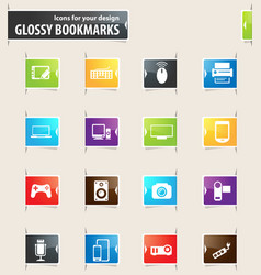 Devices bookmark icons vector