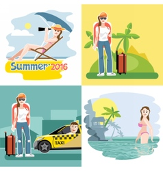 Digital touristic summer vacation vector