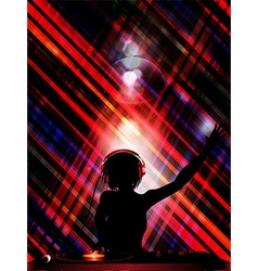 DJ silhouette over striped background vector image