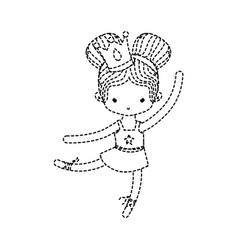 dotted shape girl dancing ballet with crown vector image