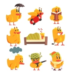 Duckling Different Activities Set Of Cute vector