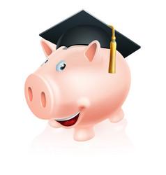 Education savings piggy bank vector