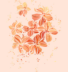 Elegant floral background in pastel orange vector