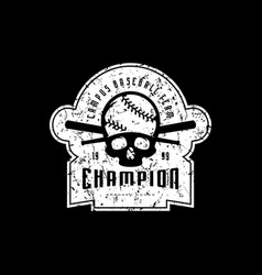 emblem of baseball champion team vector image