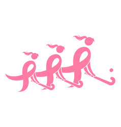 Field hockey breast cancer ribbon vector