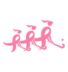 field hockey breast cancer ribbon vector image