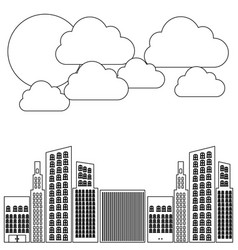 figure builds with cloud and sun icon vector image