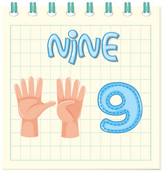 Flashcard design with number nine vector