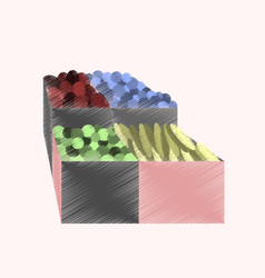 Flat shading style icon vegetables and fruits vector