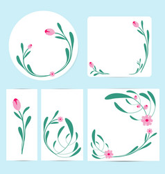 floral cards and invitation collection vector image