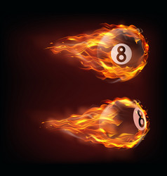 flying black billiard eight ball in fire vector image