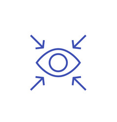 Focus line icon with eye vector