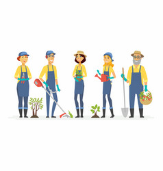 gardeners with tools - cartoon people characters vector image